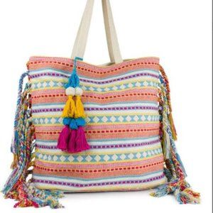 Striped Woven Canvas Tote with Side Fringe